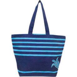 """Torba plażowa """"Bahia"""" w kolorze granatowo-jasnoniebieskoim - 35 x 58 x 23 cm. Niebieskie shopper bag damskie Le Comptoir de la Plage, z tworzywa sztucznego. W wyprzedaży za 38,95 zł."""