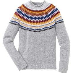 Sweter Regular Fit bonprix jasnoszary melanż wzorzysty. Szare swetry klasyczne męskie marki bonprix, l, melanż, z żakardem. Za 109,99 zł.