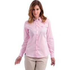 Bluzka w kolorze jasnoróżowym. Czerwone topy sportowe damskie Polo Club, z haftami, z bawełny. W wyprzedaży za 253,95 zł.
