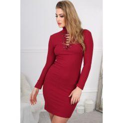 Sukienki: Bordowa Sukienka z Golfem BB20867