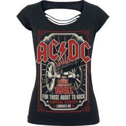 AC/DC About To Rock 1981 Koszulka damska czarny. Czarne bluzki na imprezę AC/DC, xl, z nadrukiem, z dekoltem na plecach. Za 99,90 zł.