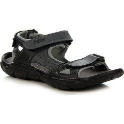 Sandały męskie skórzane: Skórzane czarne sandały męskie HELIOS 850