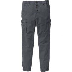 Spodnie bojówki ze stretchem Slim Fit Straight bonprix antracytowy. Szare bojówki męskie bonprix, w paski. Za 79,99 zł.