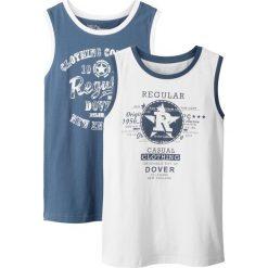 Koszulka bez rękawów (2 szt.) bonprix indygo-biały. Niebieskie bluzki dziewczęce z nadrukiem marki PARADISE, na lato, z bawełny, z krótkim rękawem. Za 35,98 zł.