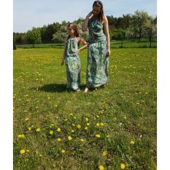 Sukienki dziewczęce z falbanami: BOHO m komplet sukienka zielona wzory azteckie
