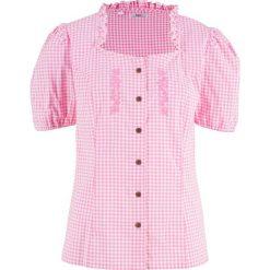 Bluzki damskie: Bluzka ludowa z nadrukiem, krótki rękaw bonprix jasnoróżowo-biały w kratę