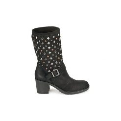 Kozaki Meline  DOTRE. Czarne buty zimowe damskie marki Born2be, z okrągłym noskiem, na niskim obcasie. Za 687,20 zł.