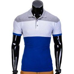 KOSZULKA MĘSKA POLO BEZ NADRUKU S833 - SZARA/NIEBIESKA. Czarne koszulki polo marki Ombre Clothing, m, z bawełny, z kapturem. Za 39,00 zł.