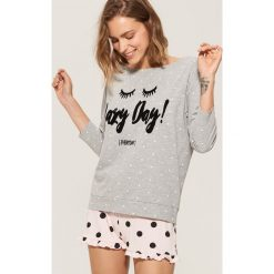Dwuczęściowa piżama z nadrukiem - Jasny szar. Szare piżamy damskie marki House, l, z nadrukiem. Za 49,99 zł.