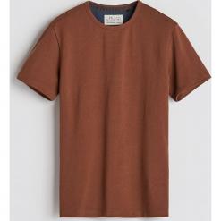 Gładki T-shirt - Brązowy. Brązowe t-shirty męskie marki LIGNE VERNEY CARRON, m, z bawełny. Za 59,99 zł.