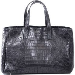 """Skórzany shopper bag """"Johanne"""" w kolorze czarnym - 40 x 27 x 17 cm. Czarne shopper bag damskie Spéciale Maroquinerie, ze skóry. W wyprzedaży za 431,95 zł."""