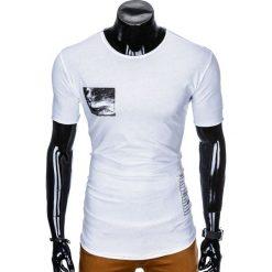 T-shirty męskie: T-SHIRT MĘSKI Z NADRUKIEM S983 - BIAŁY