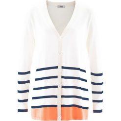 Sweter rozpinany, długi rękaw bonprix biel wełny w paski. Białe kardigany damskie marki bonprix, w paski, z wełny. Za 32,99 zł.