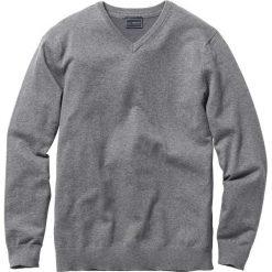 Sweter z dekoltem w serek Regular Fit bonprix szary melanż. Szare swetry klasyczne męskie marki bonprix, l, melanż, z dzianiny, z dekoltem w serek. Za 79,99 zł.