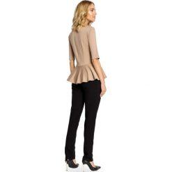 LANA Elegancka bluzka z baskinką - cappuccino. Różowe bluzki wizytowe Moe, m, z dzianiny, eleganckie. Za 89,00 zł.