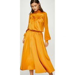 Answear - Spódnica Heritage. Pomarańczowe spódniczki rozkloszowane ANSWEAR, l, z elastanu, midi. W wyprzedaży za 119,90 zł.