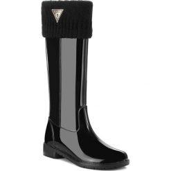 Kalosze GUESS - FLRBE3 RUB11 BLKBL. Czarne buty zimowe damskie Guess, z aplikacjami, z materiału. W wyprzedaży za 399,00 zł.