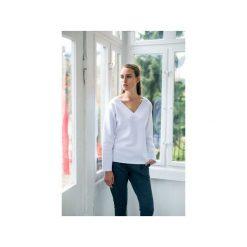 Bluzy damskie: VELVET WHITE bluza oversize