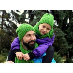 Czapki damskie: Komplet z owczeJ wełny czapka i szalik GREEN