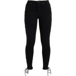 Missguided SINNER LACE UP SIDE  Jeans Skinny Fit black. Czarne jeansy damskie Missguided. Za 229,00 zł.