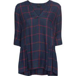Bluzka tunikowa w kratę bonprix ciemnoniebiesko-ciemnoczerwony w kratę. Niebieskie bluzki z odkrytymi ramionami marki bonprix, z dekoltem w serek. Za 99,99 zł.