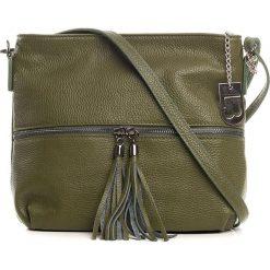 Torebki klasyczne damskie: Skórzana torebka w kolorze oliwkowym - 32 x 23 x 12 cm