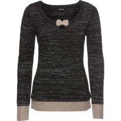 Sweter dzianinowy bonprix czarno-brunatno-srebrny. Brązowe swetry klasyczne damskie marki bonprix, z dzianiny, z kokardą. Za 69,99 zł.