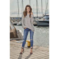Swetry klasyczne damskie: Modny sweter z łezką jasnoszary NICOLE