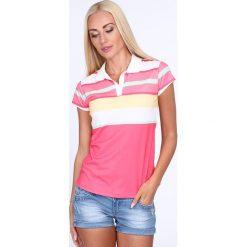 Koszulka polo w kolorowe pasy / amarant 7609. Różowe bluzki asymetryczne Fasardi, l, w kolorowe wzory, polo. Za 39,00 zł.