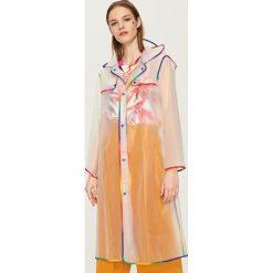 Płaszcze damskie pastelowe: Transparentny płaszcz kapturem - Biały