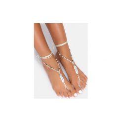 Bransoletki damskie: Biała bransoletka na stopę Leaf