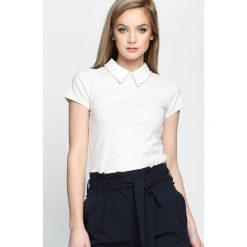 Jasnoszara Bluzka Wild Lily. Białe t-shirty damskie Born2be, l, z wykładanym kołnierzem, z krótkim rękawem. Za 79,99 zł.