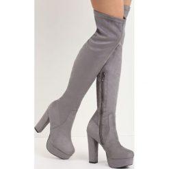 Szare Kozaki Tearaway. Szare buty zimowe damskie marki Born2be, z materiału, na wysokim obcasie, na słupku. Za 149,99 zł.