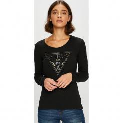 Guess Jeans - Bluzka. Czarne bluzki asymetryczne Guess Jeans, s, z aplikacjami, z bawełny, z okrągłym kołnierzem. Za 229,90 zł.