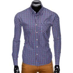 Koszule męskie: KOSZULA MĘSKA Z DŁUGIM RĘKAWEM K427 – GRANATOWA/CZERWONA