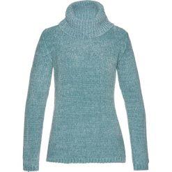 Golfy damskie: Sweter z szenili bonprix niebieski mineralny