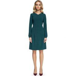 Sukienki hiszpanki: Sukienka z obniżoną linią talii – zielona