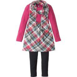 Sukienka, legginsy + szal (3 części) bonprix jeżynowy w kratę. Fioletowe legginsy dziewczęce marki bonprix, z nadrukiem. Za 49,99 zł.
