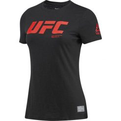 KOSZULKA UFC FG LOGO TEE. Czarne bluzki z odkrytymi ramionami Reebok, z bawełny, z krótkim rękawem. Za 71,99 zł.