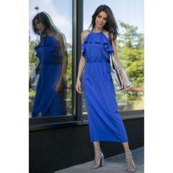 Chabrowa Długa Sukienka z Wiązanym Dekoltem z Falbankami. Niebieskie długie sukienki marki Molly.pl, na imprezę, na lato, m, wakacyjne, z falbankami, z długim rękawem. Za 149,90 zł.
