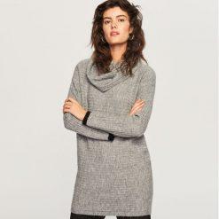 Długi sweter z golfem - Szary. Szare golfy damskie marki Top Secret, z dzianiny. Za 79,99 zł.