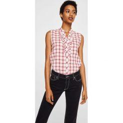 Mango - Koszula Praderac. Szare koszule damskie Mango, l, w kratkę, ze lnu, z krótkim rękawem. W wyprzedaży za 59,90 zł.