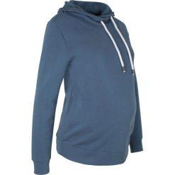 Bluza ciążowa z dużym kołnierzem bonprix indygo. Niebieskie bluzy ciążowe marki bonprix, z materiału, z dekoltem w serek. Za 74,99 zł.