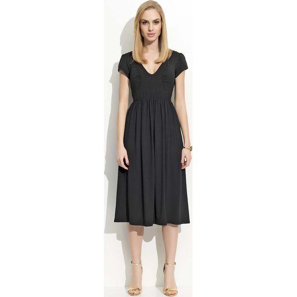 d6a2b773b0 Czarna Sukienka Midi z Marszczeniami - Czarne sukienki damskie Molly ...