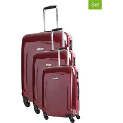 Walizki: Zestaw walizek w kolorze bordowym – 3 szt.
