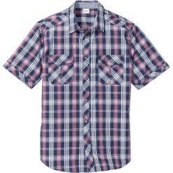 Koszula z krótkim rękawem Regular Fit bonprix matowy jeżynowy w kratę. Brązowe koszule męskie marki QUECHUA, m, z elastanu, z krótkim rękawem. Za 37,99 zł.