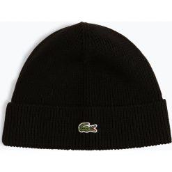Lacoste - Czapka męska, czarny. Czarne czapki męskie Lacoste, z aplikacjami, prążkowane. Za 179,95 zł.