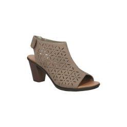 Sandały Rieker  Sandały skórzane ażurowe na słupku  64196. Czarne sandały damskie na słupku marki Rieker, z materiału. Za 198,99 zł.