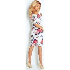 Elise Sukienka sportowa - ECRU + kolorowe duże CZERWONE kwiaty. Czerwone sukienki na komunię marki House, l, z napisami, sportowe, sportowe. Za 109,00 zł.