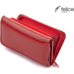 SKÓRZANY PORTFEL CZERWONY. Czerwone portfele damskie Felice, z materiału. Za 79,90 zł.